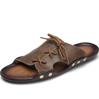 ZEACAVA Men's  Outdoor Beach Leather Lace-up Slippers