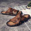 ZEACAVA Men's  Outdoor Beach Leather Lace-up Slippers - BROWN