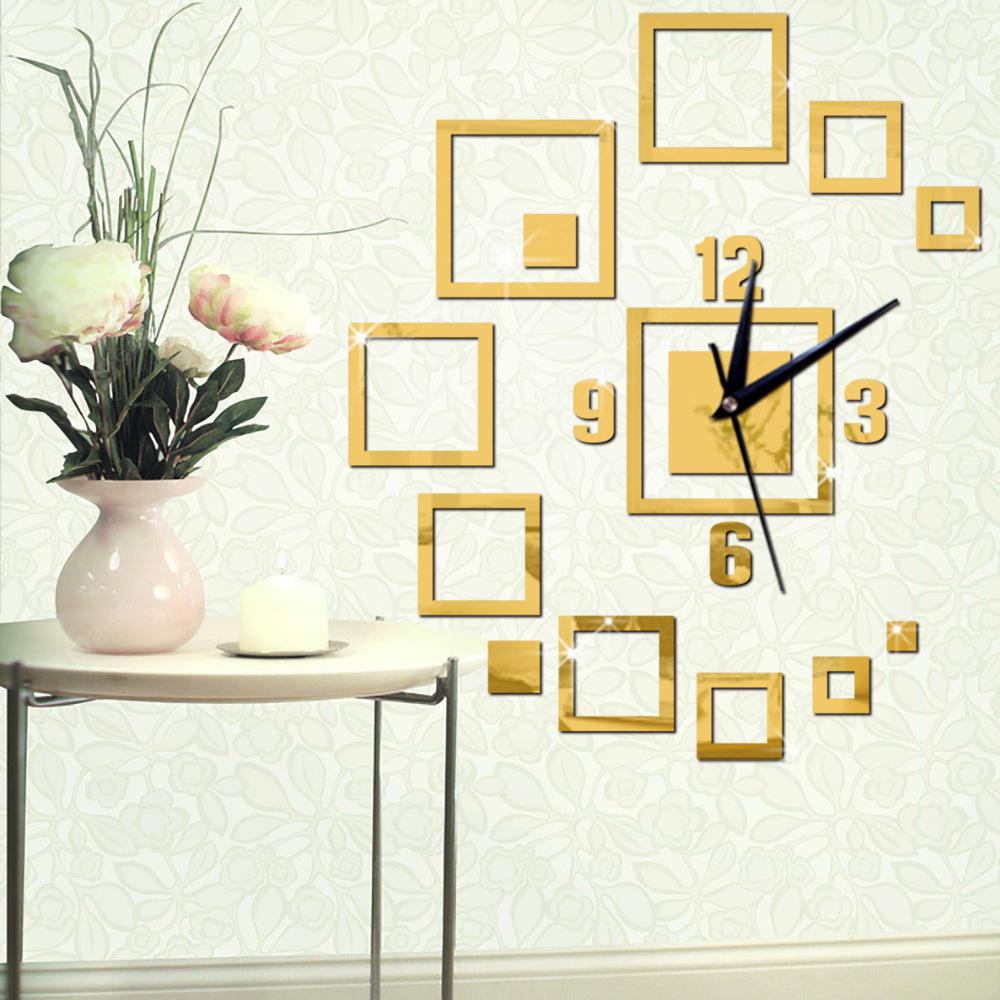 Diy 3D Square Wall Clock Acrylic Stickers Living Room Mordern ...