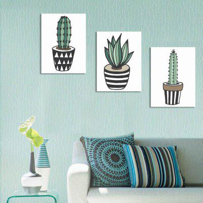 W241 Cartoon Cactus Unframed Wall Art Canvas Prints for Home Decoration 2PCS