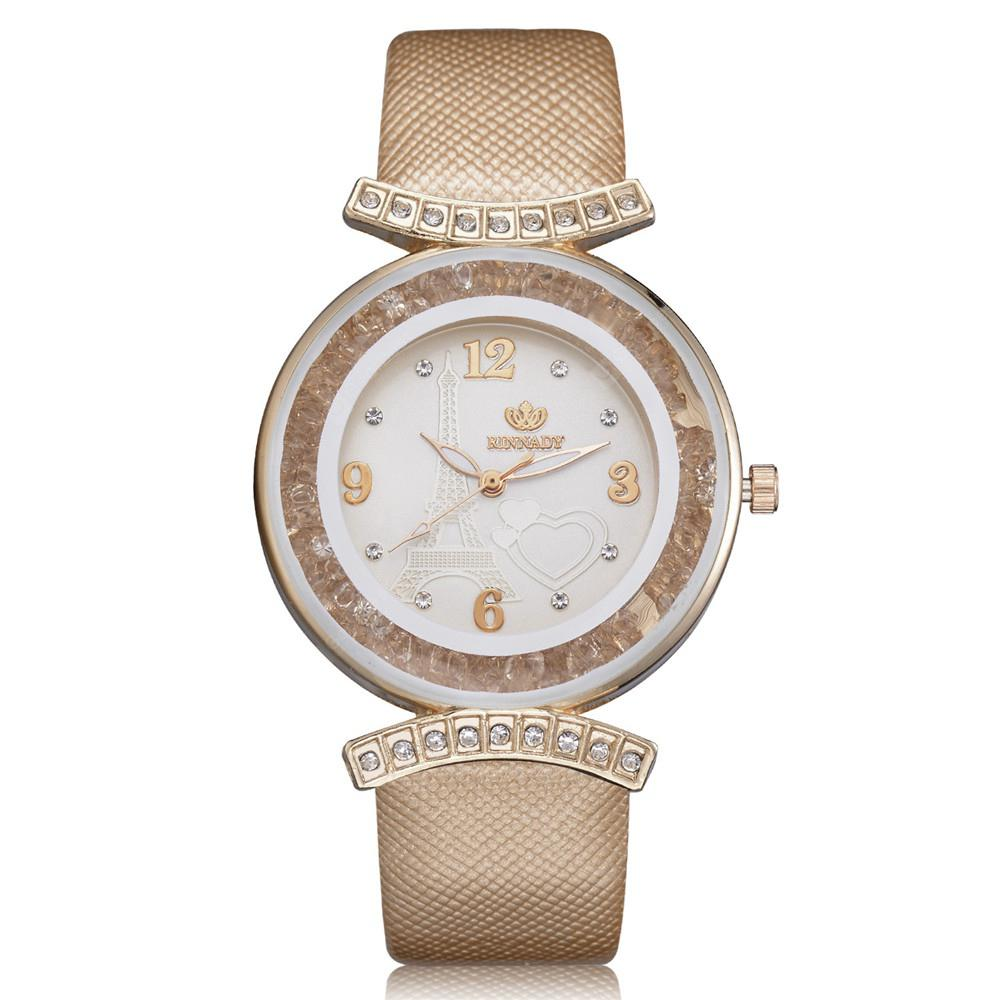 RINNADY XR2537 Women's Analog Quartz Wrist Watch with Rhinestones Bezel
