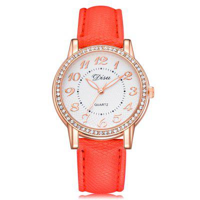 DISU DS072 Women Arabic Numbers PU Leather Quartz Watch with Artificial Diamond