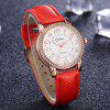 DISU DS072 Women Arabic Numbers PU Leather Quartz Watch with Artificial Diamond - RED