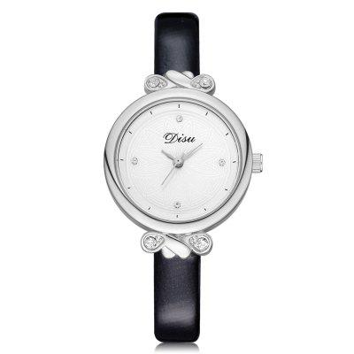 Disu DS066 Women Fashion Case PU Band Quartz Wrist Watch Silver Tone