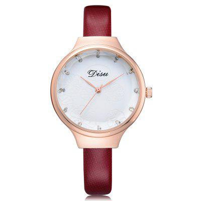 DISU DS077 Women Analog Quartz Small PU Leather Watch with Flowers Dial