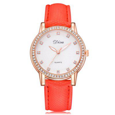 Disu DS071 Women Fashion Dial PU Band Quartz Wrist Watch