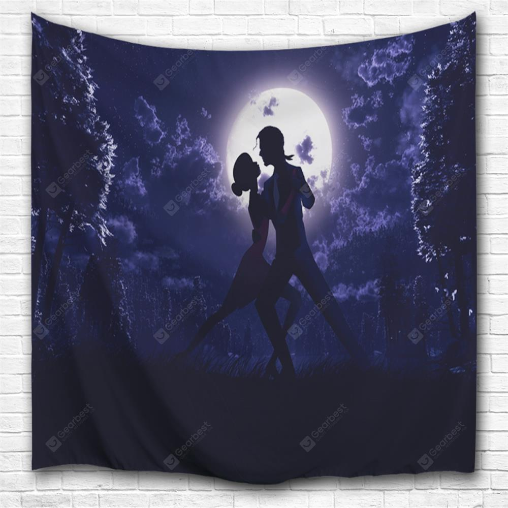 Couple Under The Moon 3D Printing Home Wall Hanging Tapestry for Decoration