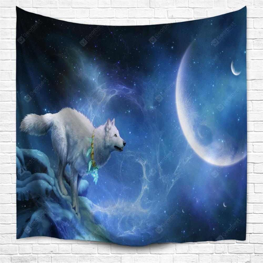 Night Sky Snow Wolf 3D Printing Home Wall Hanging Tapestry for Decoration