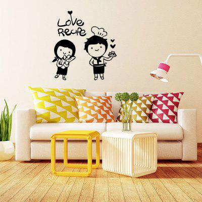 Happy Chef Wall Stickers Love Cartoon Couple Kitchen DIY Removable ...