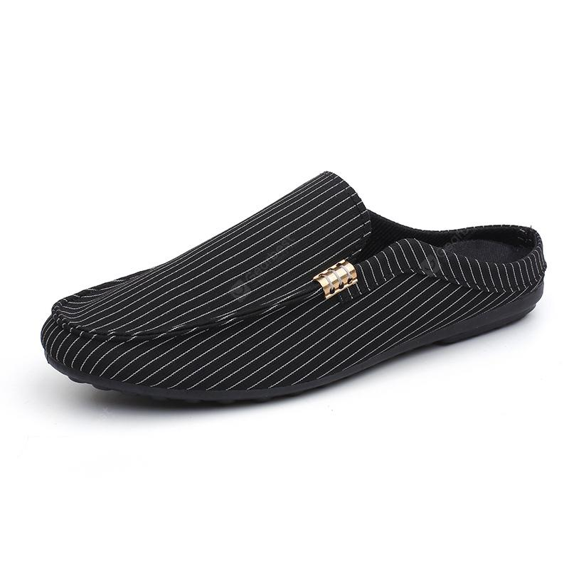 Fashion Striped Loafer Style Slippers