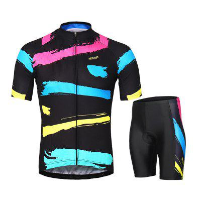 ARSUXEO Men's Cycling Jersey Short Sleeves Bike Clothing Suits arsuxeo luminous reflective uv protection arm sleeves elbow support 2pcs