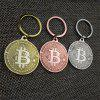 Bitcoin Key Chain Plated Cryptocurrency Gift - SILVER