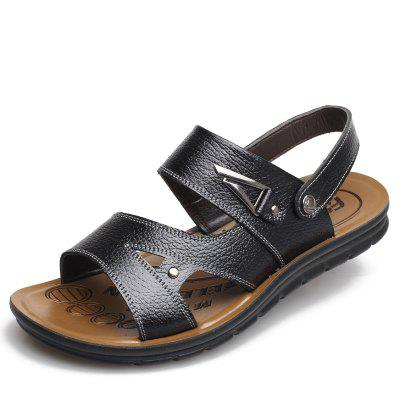 Muhuisen Summer Men Leather Sandals Shoes Soft Flats Slipper