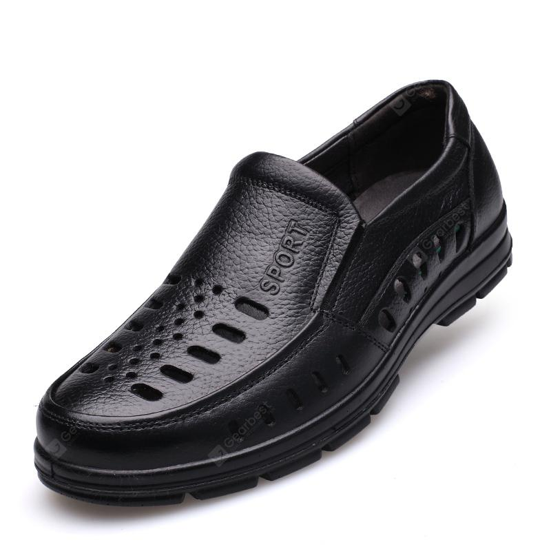 MUHUISEN Summer Men'S Casual Shoes Hollow Out Breathable Male Flats