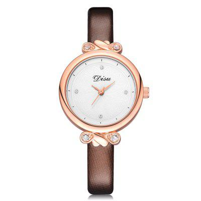 Disu DS065 Women Fashion Case PU Band Quartz Wrist Watch