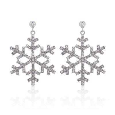 925 Silver Six Corners of The Snowflake Drop Earrings
