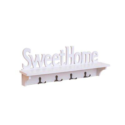 WX-0329-327 Sweet Home White Hollow Wooden Partition Four Hook Wall Hanging