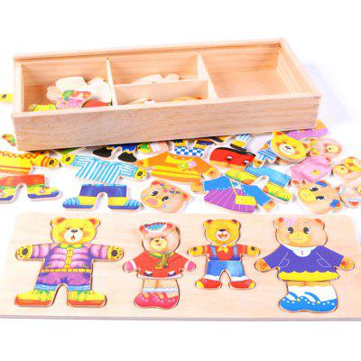 Wooden Baby Bear Children Change the Clothes Puzzle Building Block
