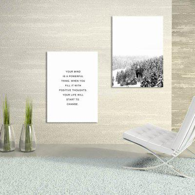 W242 Letters and Snow Scene Unframed Wall Canvas Prints for Home Decoration 2PCS