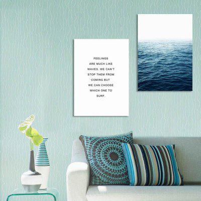 W243 Letters and Sea Unframed Wall Canvas Prints for Home Decoration 2PCS цена и фото