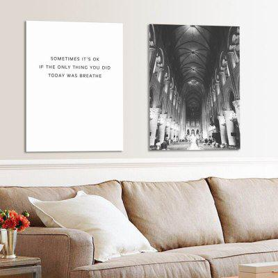 W245 Letters and Church Unframed Wall Canvas Prints for Home Decoration 2PCS