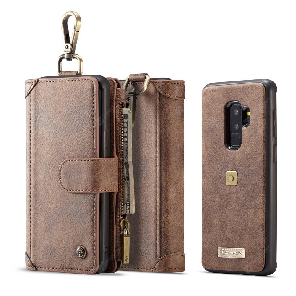 CaseMe for Samsung Galaxy S9 Plus Leather Wallet Case with Card Sots Carabiner - Brown