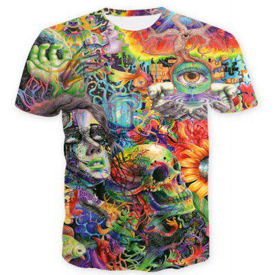 Men Casual 3D Skull Print Short Sleeves T-shirt
