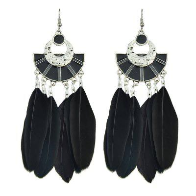 Blue Black Enamel Feather Boho Drop Earrings