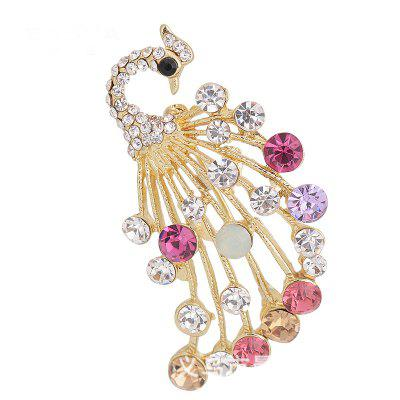 Elegant Peacock Shape Brooch Alloy and Rhinestone Clothes Decoration