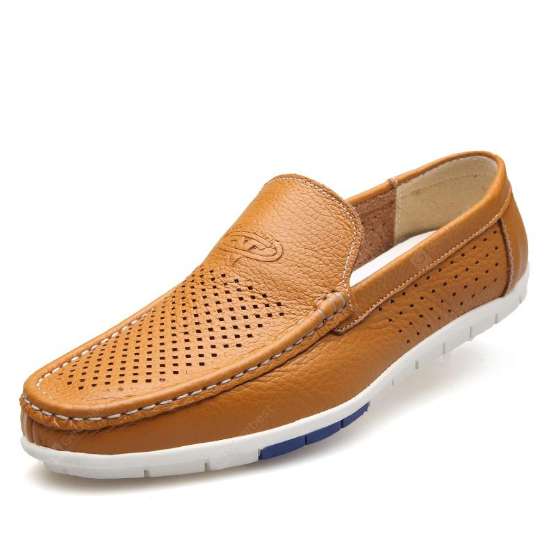 MUHUISEN Men Casual  Shoes Summer Breathable Leather Loafers