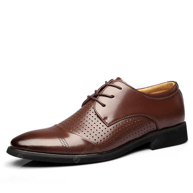 MUHUISEN Men Summer Soft Leather Breathable Hollow Out Business Dress Shoes
