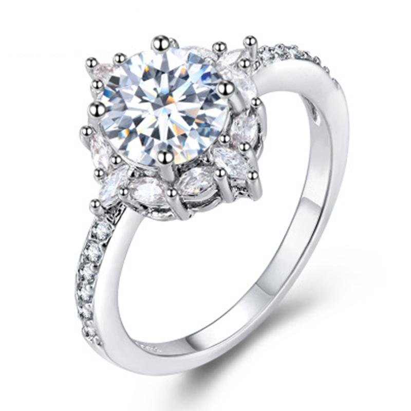 Dazzling Brand Jewelry 925 Sterling Silver Natural Gemstone White Sapphire Bride Engagement Wedding Ring