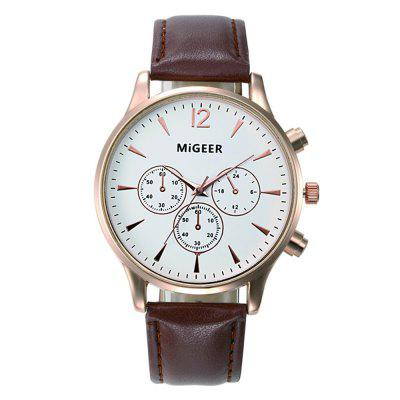 Migeer Luxury Casual Leather Quartz Sport Dress Watch mens fashion city casual shirts