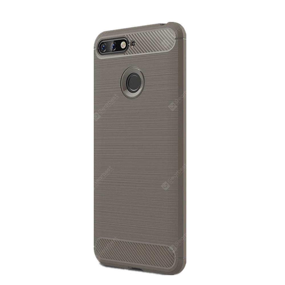 Case for Huawei Honor 7A Shockproof Back Cover Solid Color Soft Carbon Fiber
