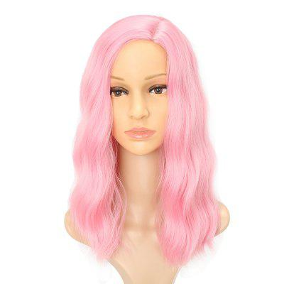 Fluffy Pink Charming Wavy Synthetic Long Hair Party Cosplay Wigs Middle Parting harajuku cosplay wig costume fashion sexy women long gray synthetic hair lolita wigs with bangs party peruca pelucas