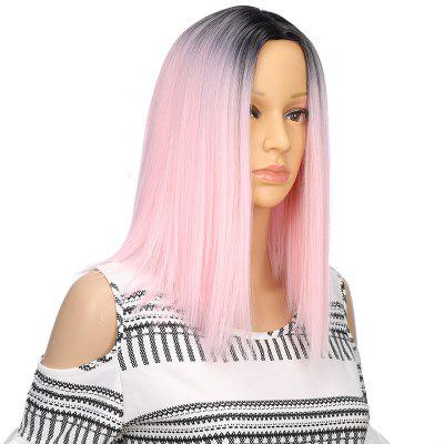 Light Pink Ombre Bob Synthetic Middle Part Straight Short Hair Wig for Girl synthetic short straight blond wig for women short golden hair afro wigs full bob wig with rose hair cap peruca feminina