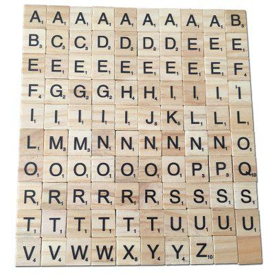 100PCS Creative Wood Chip DIY English Alphabet Baby Intelligence Development