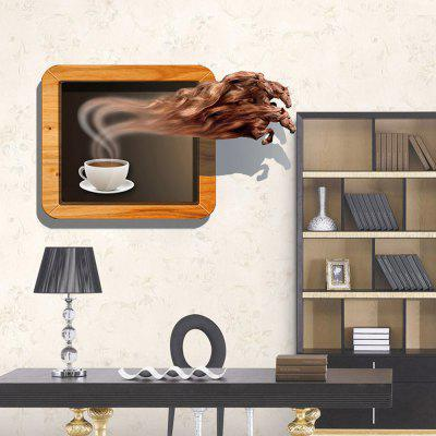 3D Coffee Magic Horse Personality Creative Removable Wall Stickers