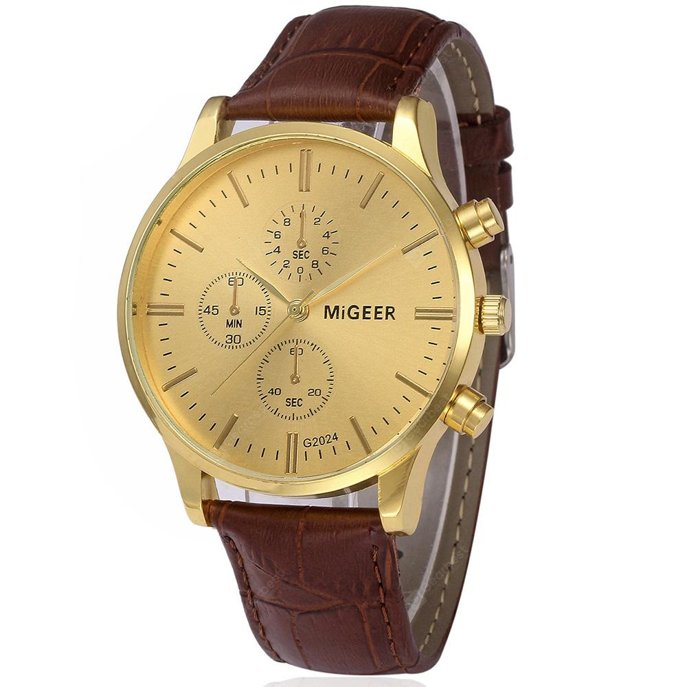MIGEER Vintage Fashion Stainless Steel Quartz Analog Casual Wristwatch
