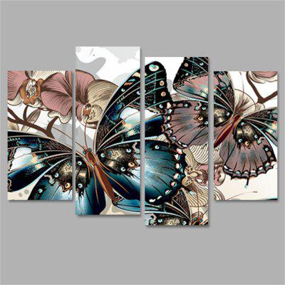Butterfly Frameless Printed Canvas Wall Art Paintings 4PCS burning guitar pattern unframed wall art canvas paintings