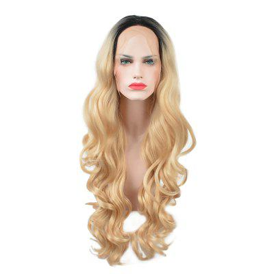Glueless Synthetic Blonde Ombre Lace Front Long Wavy Wigs African American Women ombre blonde body wavy glueless synthetic lace front wigs heat resistant hair wigs with baby hair