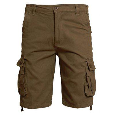 Plus Size Big Pockets Men Calças soltas Casual Shorts Cargo