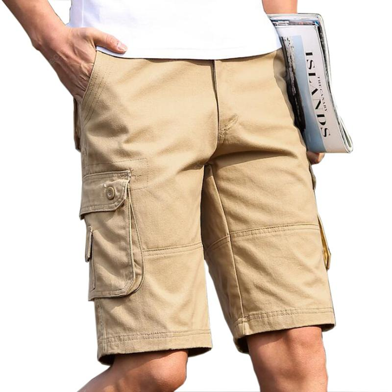Plus Size Men Big Pockets Calças Soltas Casual Shorts Cargo
