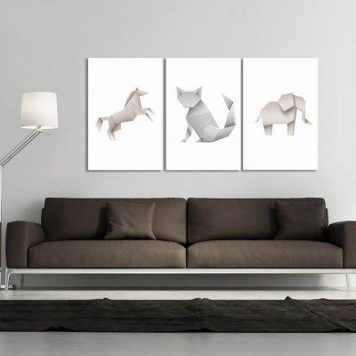 W286 Origami Animals Unframed Art Wall Canvas Prints for Home Decorations 3 PCS