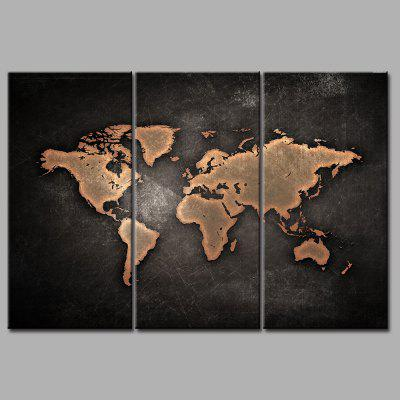 World Map Frameless Printed Canvas Wall Art Paintings 3PCS burning guitar pattern unframed wall art canvas paintings