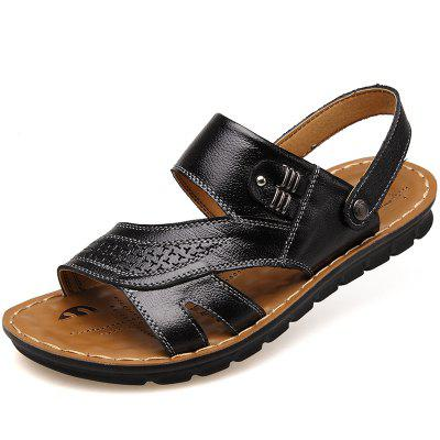 MUHUISEN   Slippers Leather Sandals Summer Casual Shoes Fashion Men Beach Flip