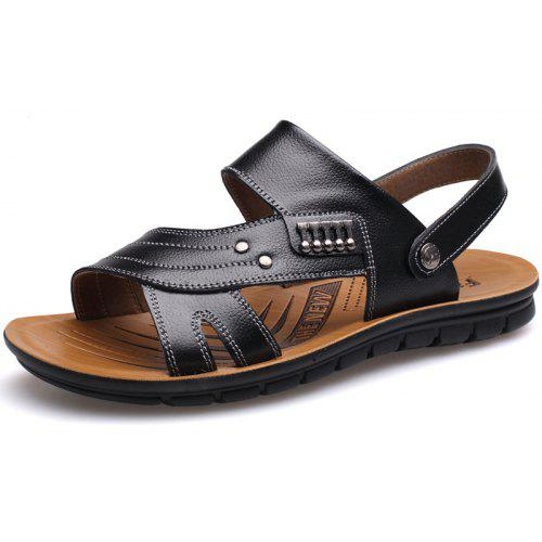 bf708b853c2af Muhuisen Leather Sandals Casual Men Slippers Summer Shoes Beach Flip Flop