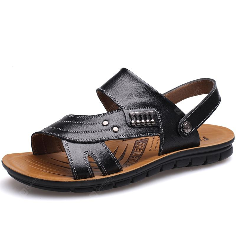 Muhuisen Leather Sandals Casual Men Slippers Summer Shoes Beach Flip Flop
