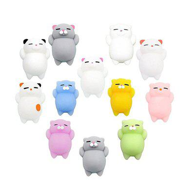 Mini Cartoon Cat Fidget Toy Stress Reliever Miękkie Jumbo Squishy Slow Resin12PCS