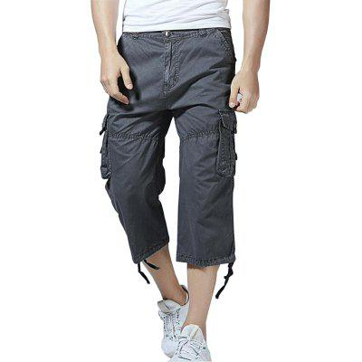 Homens Big Pockets Loose Pants Casual Cargo Shorts